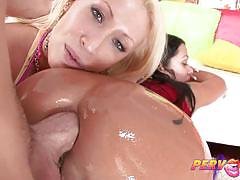 candy manson, sienna west, brunette, blowjob, tattoo, anal, blonde, milf, big ass, threesome, wife, mom, pov, deepthroat, face fucking, ass fucking, gaping