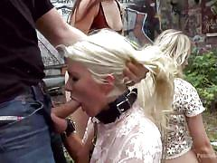 Blondes on leash get publicly disgraced