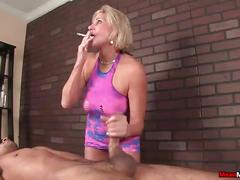 blonde, smoking, milf, handjob, mature, bigcock, jerking, bigdick, cigarette, jacking, big-cock, big-dick