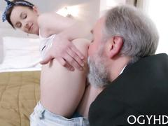 Old man has a slut who he loves to tame