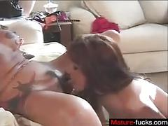 Sucking on the wet pussy and the strap on comes in handy