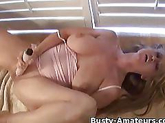 Naughty violet masturbates her pussy with dildo