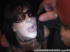 cumshots, milf, compilation, gangbang, cumdrinkingwife, mom, mother, cum, cumshot, bukkake, wife, real, amateur, party, facial, brunette, glasses, public