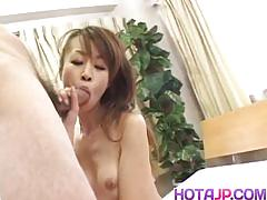 Asian babe sucking hard cock