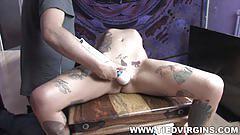 Blond bitch tied up orgasms