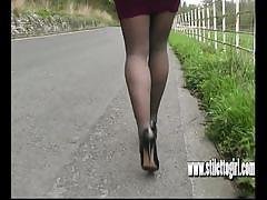 brunette, feet, babe, stockings, nylon, legs, tease, fetish, stillettoes, shoes, high heels, foot fetish