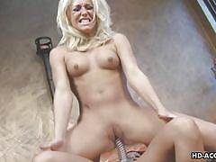 Goldie sucks a dildo and rides it hard