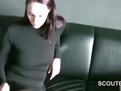 German whore fucked by older man without condom in homevideo