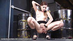 erotic, sandrashinelive.com, babe, brunette, masturbation, solo, fingering, lingerie, pussy play, small tits, strip tease, tight ass, heels, clit rubbing, climax