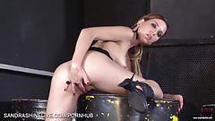 Hot brunette in fishnet dress fingering pussy