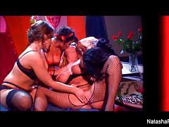 Babe natasha nice enjoys lesbian foursome