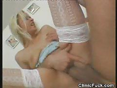 Blonde nurse gets her pussy nailed