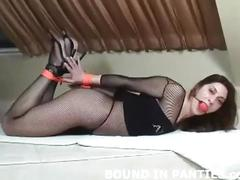 Hogtied and groped in sexy see thru lingerie