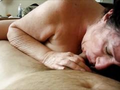 Older woman sucks cock - homemade mature