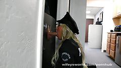 Busty cop trys glory hole and swallows