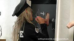 blowjob, wifeysworld.com, big boobs, busty, blonde, blow job, dick stroking, cougar, swallow, police uniform, cumshot, glory hole, milf, oral sex, hd, cock sucking