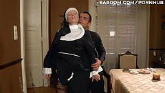fetish, saboom.com, nun uniform, facial, blonde, shaved vagina, reverse cowgirl, orgasm, interactive, doggystyle, priest, taboo, lingerie, small tits, bubble butt