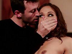 Bad girl brunette sara luvv stuffed hard