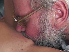 Pretty brunette daniella rose sucks on an old mans dick