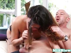 Classy milf cocksucking before facial