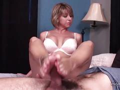 Son gets footjob from his step mom