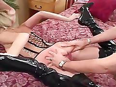 Blonde fucked in a corset stockings and boots