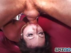 Ely pink slides a big cock all the way down her throat