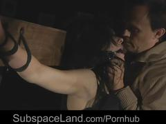 Brunette damsel very rough treated by her bdsm dom