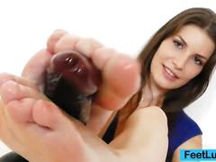 Cute brunette posing and teasing plus foot
