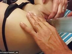 Sexy aussie brunette gets fucked & squirts hard - part 2 ft. glass bottle