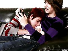 Skinny gay boys make love on the sofa
