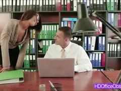 Brunette secretary with hot lingerie fucks her boss