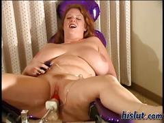 Fat blonde is a slut who is wanking on her own real hard