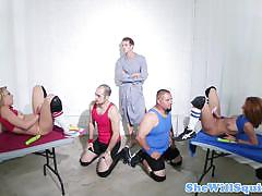 Squirting babes suck and fuck a fat cock in 3some.
