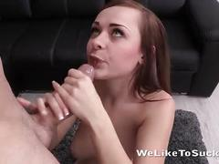 Cute girl sucking a huge dick with joy