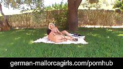 lesbian, german mallorcagirls.com, blonde, brunette, girl on girl, natural tits, outdoors, pussy licking, shaved twat, big butt, huge boobs, busty