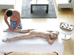 Blonde staci carr takes it after a sensual massage