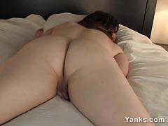 Sensual plumper rubs her moist pussy