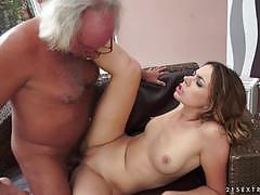 Beautiful ani black fox takes a old mans dick in her fresh pussy