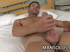 Wanking his cock on his own