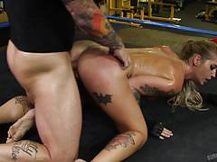 derrick pierce, kleio valentien, blowjob, sport, tattoo, cumshot, tits, blonde, reverse cowgirl, cowgirl, on top, punk, boxing ring, cock suck, sucking