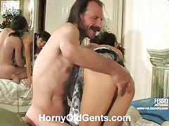 Teen gertie takes old man karl's dick in her twat