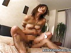 Bound asian gets her pussy nailed