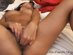 Malaysian babe rubbing her pussy lips