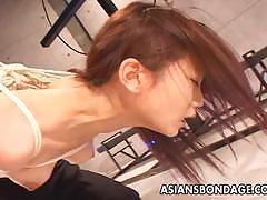 Asian sluit tied up and teased