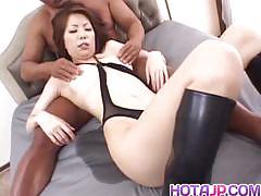 Japanese milf gets her hairy pussy slammed