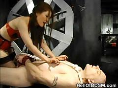 Tied and punished with a asian totty