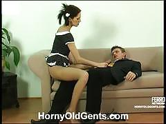 Young maid emmie sitting on her boss' dick