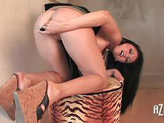 Busty babe toys her moist slot