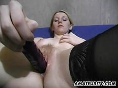 Busty amateur plays with this hard dick
